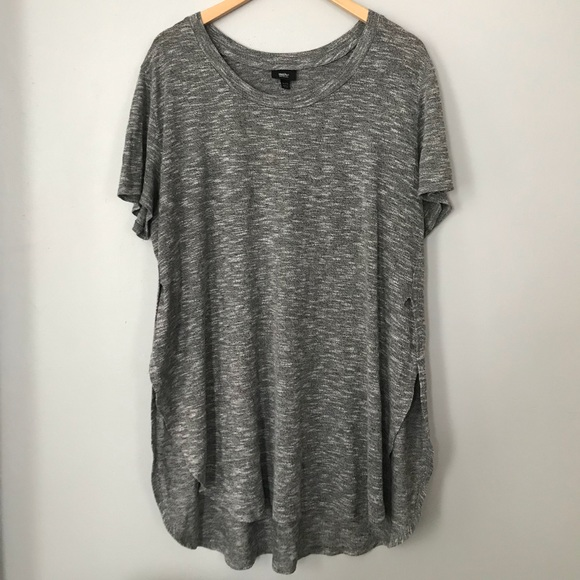 731a5685 Mossimo Supply Co. Tops - Mossimo Heather Grey Side-Slit Short-Sleeve Tunic